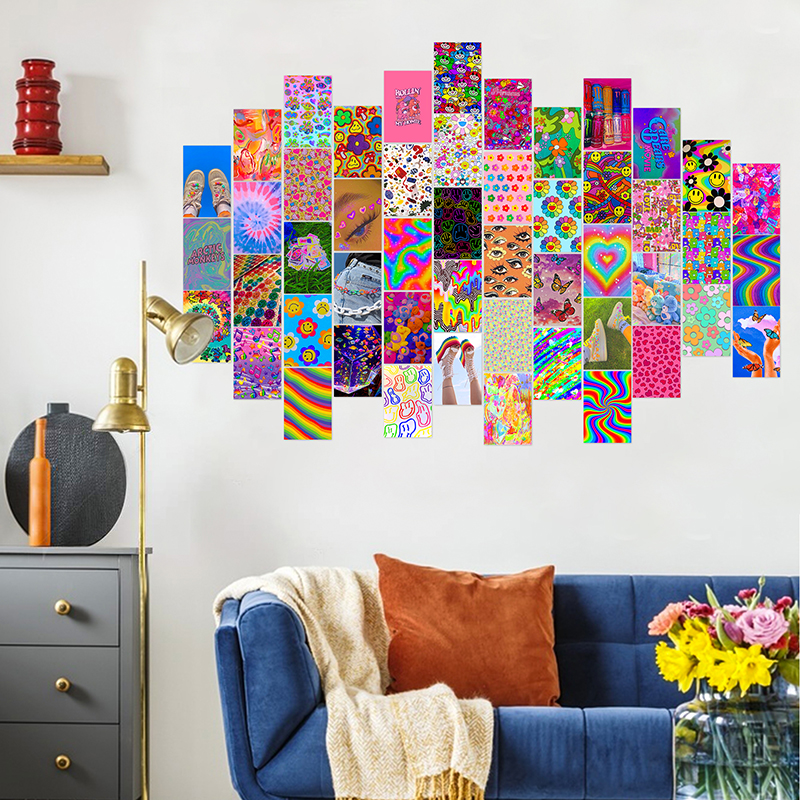 50Pcs Bright Aesthetic Picture for Wall Collage Kits Warm Color Dorm Poster Room Bedroom Decor for Women Art Prints