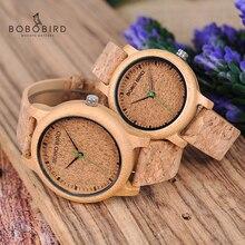 בובו ציפור שעונים במבוק זוג שעונים אנלוגי תצוגת במבוק חומר בעבודת יד שעונים עץ שעון גברים תוצרת סין