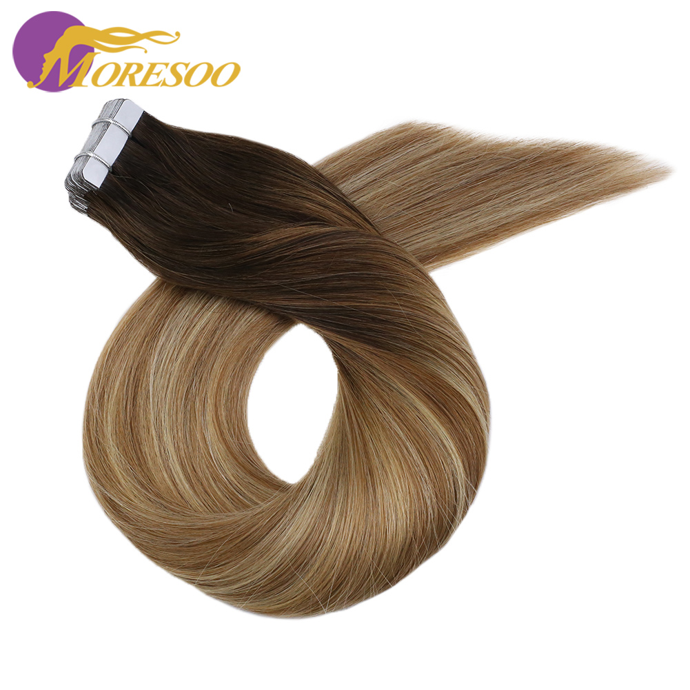 Moresoo Tape In Hair Extensions Human Hair Machine Remy Balayage Ombre Color 14-24 Inch 2.5g/pcs Skin Weft Hair Extensions