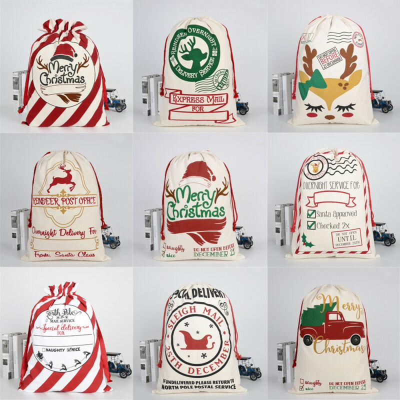 Xmas Large Christmas Stockings Bags Sacks Hessian Santa Gift Sack Decoration Bag Candy Present Storage Drawstring Bag 11 Styles