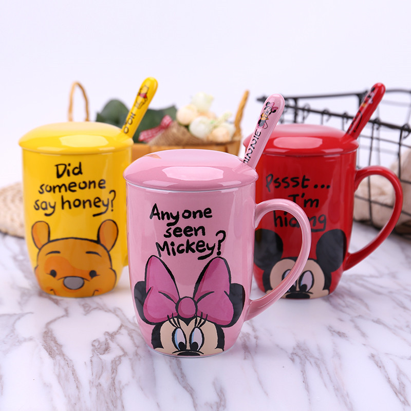 350mL Disney Mickey Minnie Pooh Cartoon Ceramic Water Cup Coffee Milk Tea Mug Home Office Collection Cups Women Girl Gifts