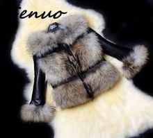 Genuo Winter PU Leather Faux Fur Coats Women 2019 Casual Slim Fluffy Collar Outwear Jacket Female Plus Size Hairy Motor