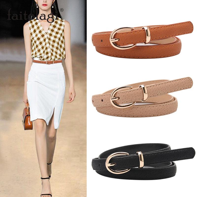 Thin Leather Female Belt Strap Black White Brown Women Belts  Ladies Dress Belt Girls Pants Jean Waist Belt ceinture femme riem