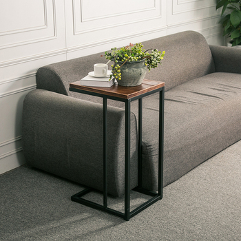 Simple small side table solid wood coffee table square table iron corner table living room sofa side table toughened glass tea table stainless steel small square table the sofa side table flower