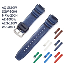 цена на Rubber Strap for Casio AE-1000w AQ-S810W SGW-400H / SGW-300H Silicone Watchband Pin Buckle Strap Watch Wrist Bracelet Black