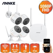ANNKE 4ch Wireless Security CCTV Camera System 1080P Wifi Mini NVR Kit Outdoor Video Surveillance Home Wireless IP Camera Set