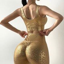 Mitaogirl Gouden Luipaard Print Yoga Sets Vrouwen Sexy Hoge Taille Push Up Gym Workout Panty Kleding Hot Koop
