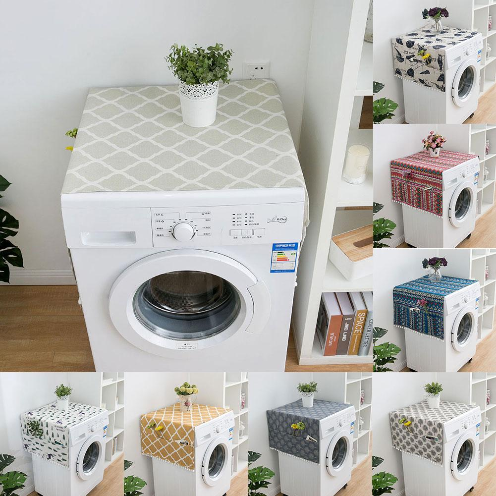 Geometric Rhombus Dust Covers Washing Machine Covers Refrigerator Dust Protector With Pocket Cotton Dust Covers Home Cleaning