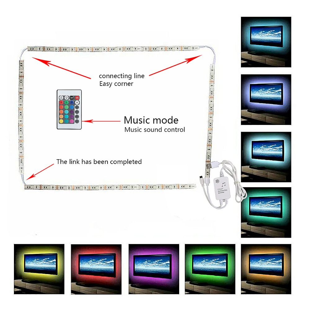 H2589c3ed1a45459483352d77166057c6N 5V 2M Nonwaterproof RGB 5050SMD Led Strip Can Change Color For TV Background Lighting With USB IR Controller