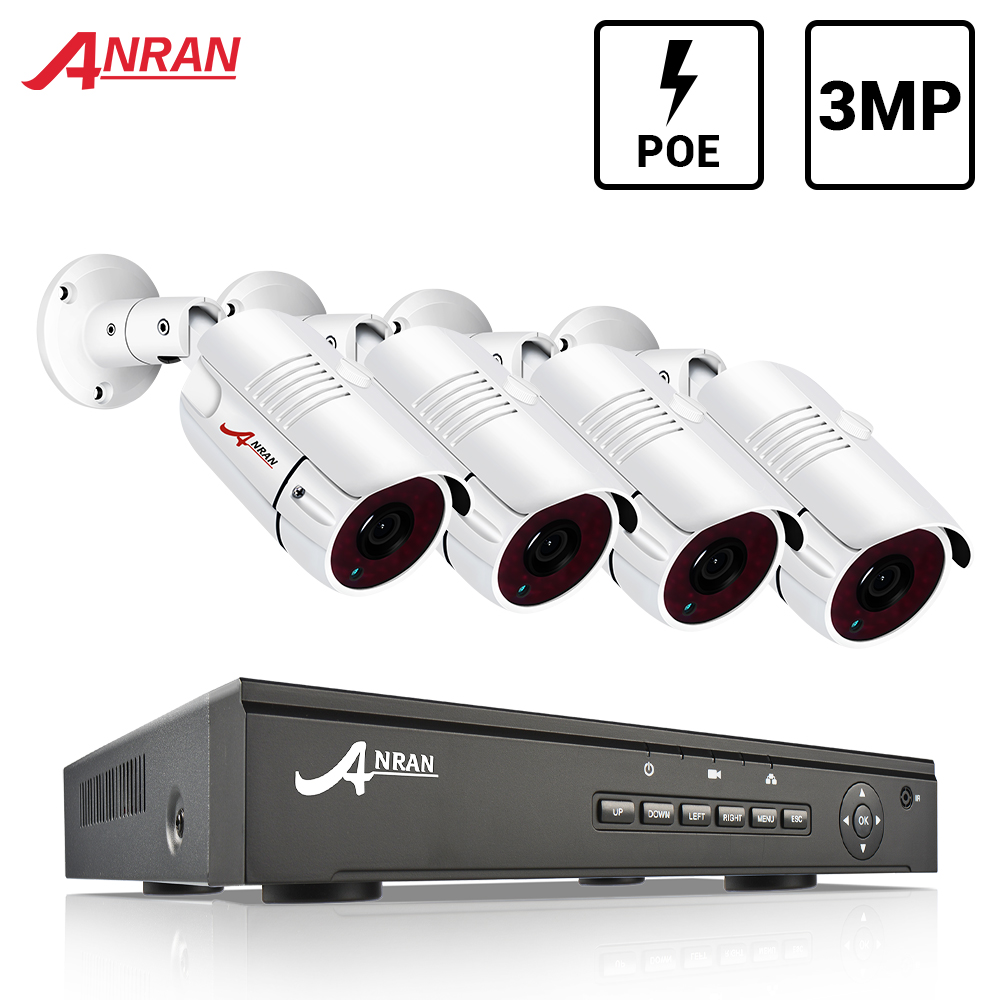 Surveillance System 3MP CCTV Camera System POE NVR Kit Onvif Security Camera System HD IP Camera Outdoor Waterproof Camera ANRAN
