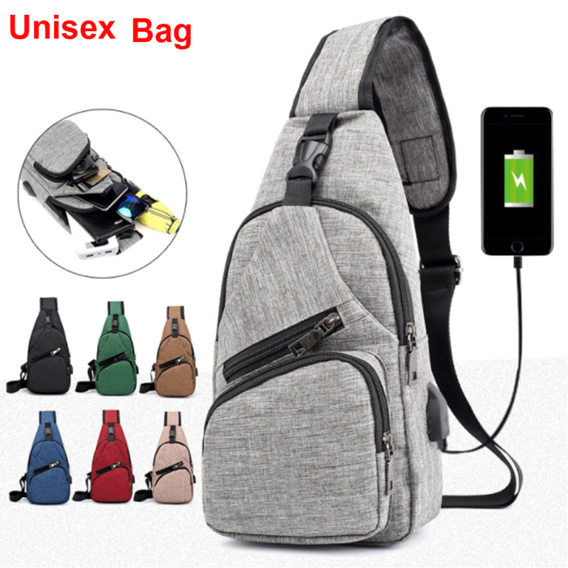 Men's Shoulder Bag Sling Chest Pack Canvas USB Charging Sports Crossbody Handbag
