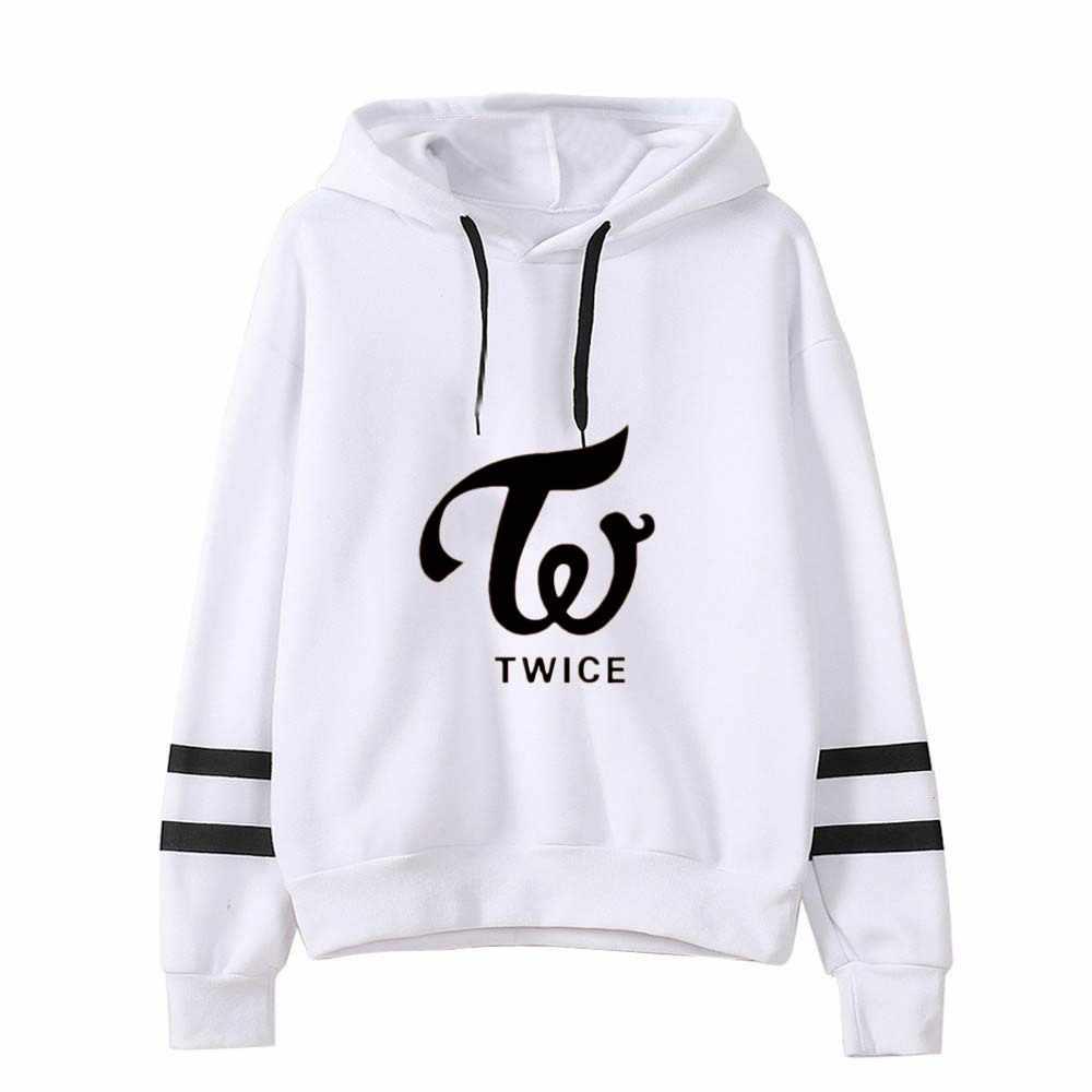 Harajuku Striped Sweatshirts K Pop TWICE MOMO TZUYU NAYEON JIHYO Kpop White Clothes Women Long Sleeve Pullovers Hoodie Outerwear