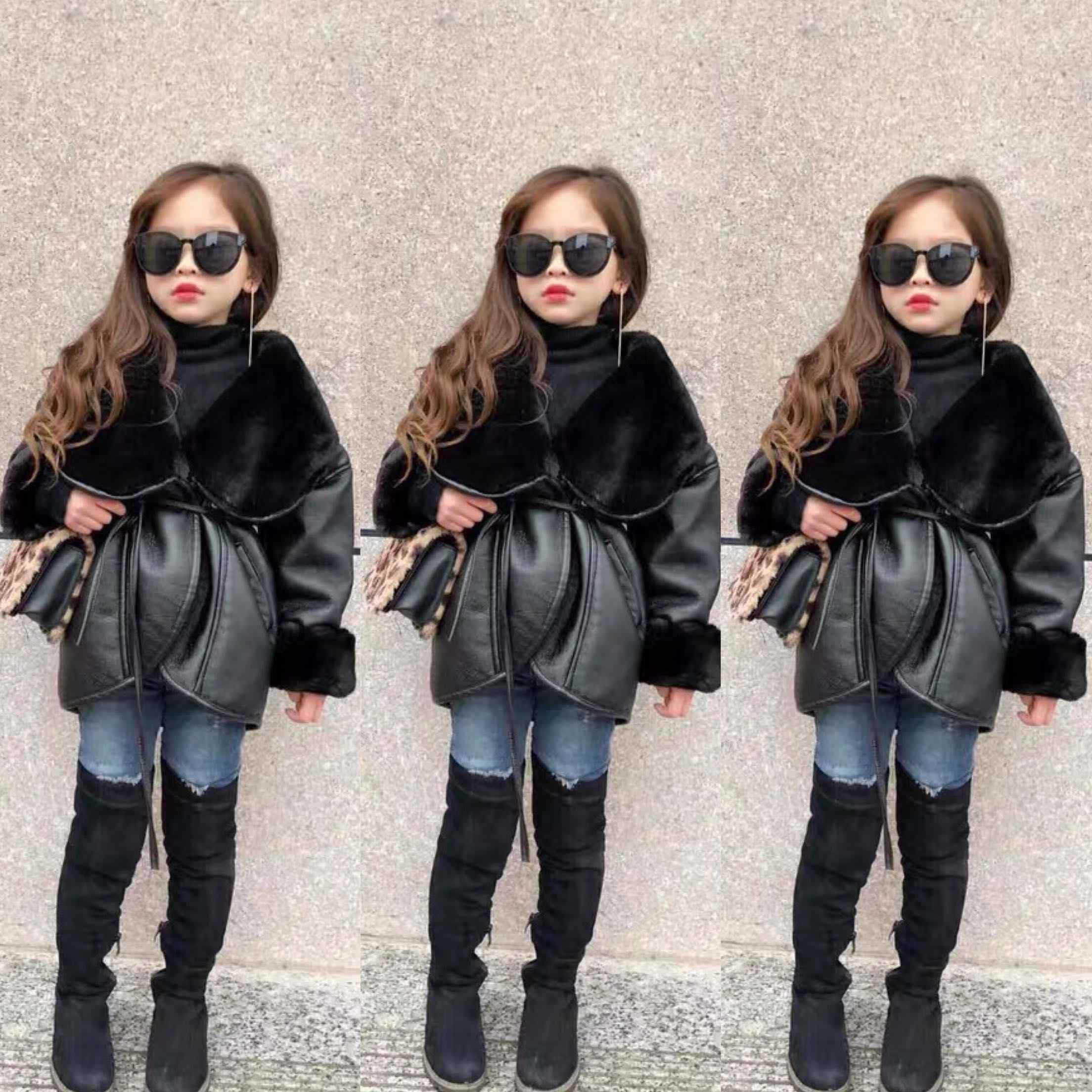 PU Leather Jackets for Kids Girls Winter Faux Leather Jackets with Fur Toddler Girls Outerwear Faux Rabbit Fur Leather Jackets