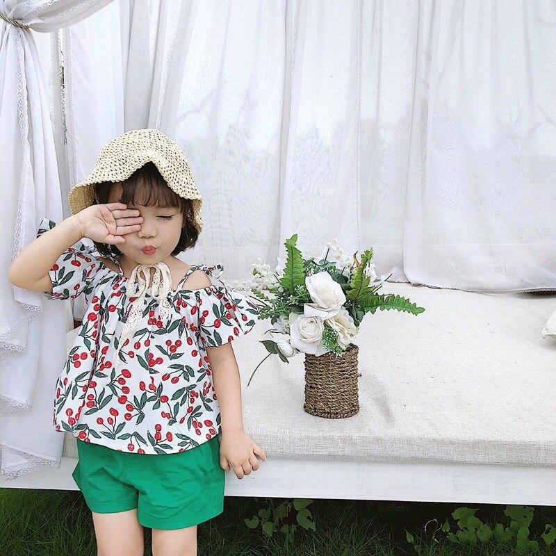 Girls Korean-style Cherry Fly Sleeve Shirt Horizontal Neck Cotton Short Sleeve Top Shirt With Narrow Straps 2019 Summer New Styl