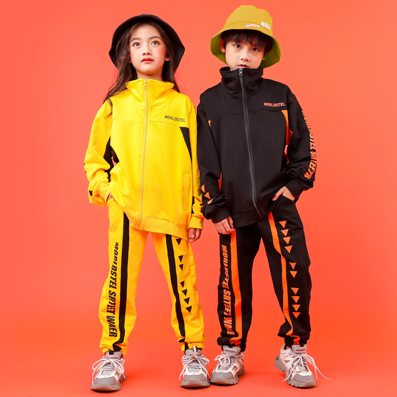 Kids Cool Fashion High Neck Jacket Top Coat Running Casual Hip Hop Pants Clothing for Girls Boys Jazz Dance Costume Clothes Wear