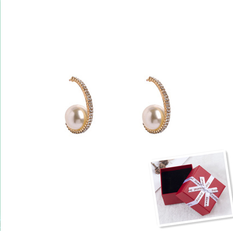 2020 New Arrival  Pearl  Classic Round Women Dangle Earrings Korean Simple Pearl Earrings  Female Jewelry With Gift Box