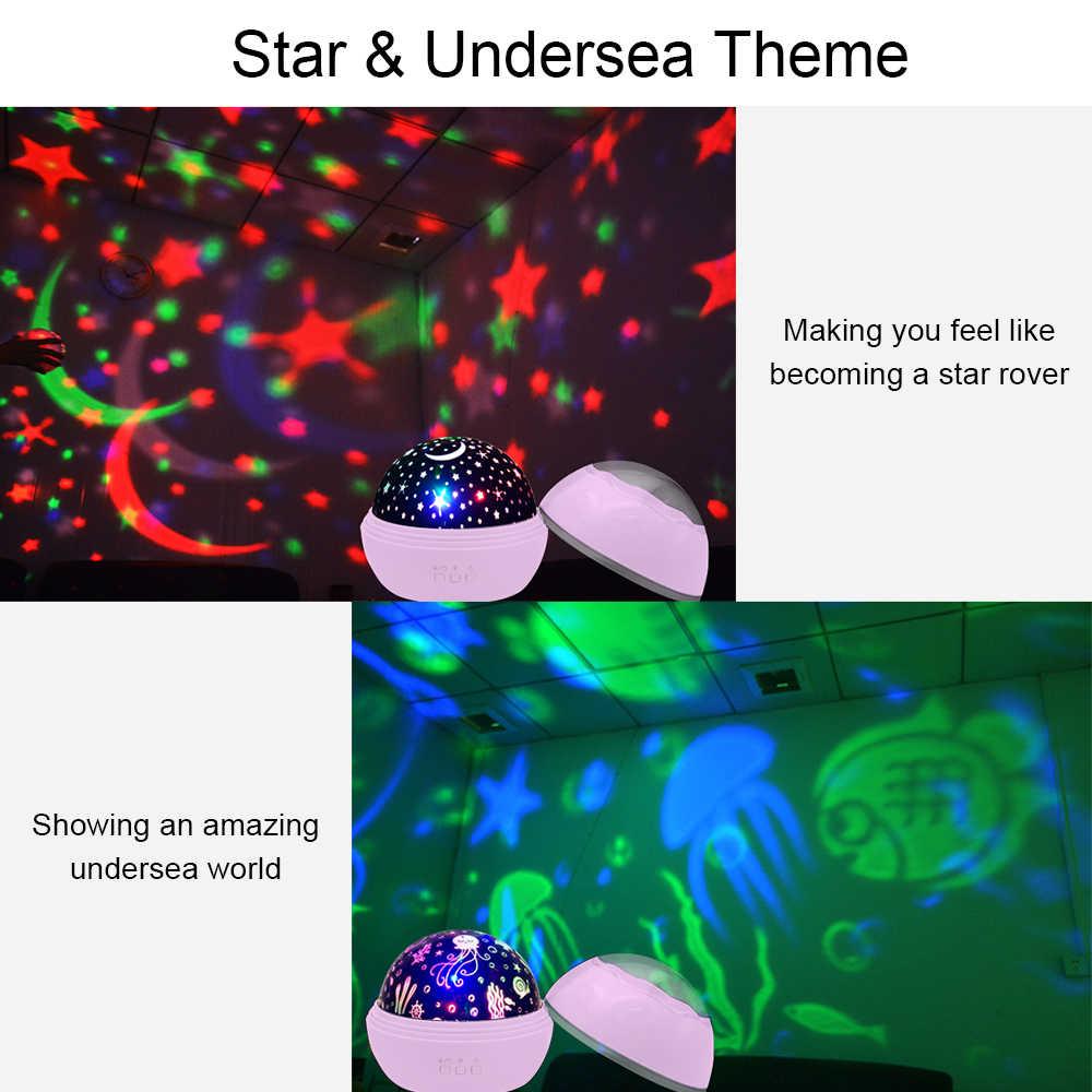 Новинка Светодиодный светильник-проектор с вращающейся звездой ing Moon, звездное небо, детский ночной Светильник для сна, аварийная проекционная лампа на батарейках
