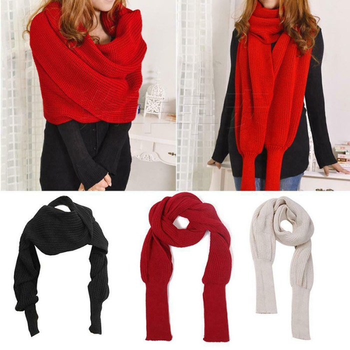 Knitted Wrap Scarf With Sleeves | GoInsShop