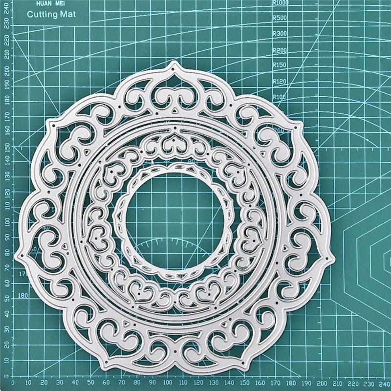 YaMinSanNiO Lace Round Frame Metal Cutting Dies DIY Etched Dies Crafts For Paper Card Making Scrapbooking Embossing New Stencils