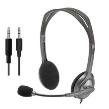Logitech H110/H111 3.5mm Audio Jack Wired Headphones Stereo Sound Headset with Rotating Microphone Adjustable headband for Game