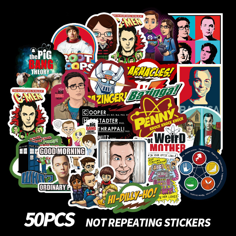 50Pcs The Big Bang Theory Stickers PVC Stickers Movie Wall Stickers Clear Image Home Decoration