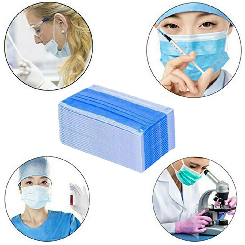 Image 5 - Masks 50pcs  3 Layer Disposable Medical Protective Face Mouth  Masks Anti PM2.5 Influenza Bacterial Facial Dust Proof Safety Mask  -