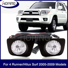 Hoping 1 Set For TOYOTA 4 Runner For Hilux Surf 2005 2006 2007 2008 2009 Additional Upgrade Fog Light Set With Wire Switch Kit(China)