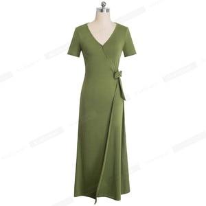 Image 4 - 素敵な永遠の因果無地セクシーなスプリット vestidos 半袖パーティー女性のドレス A155