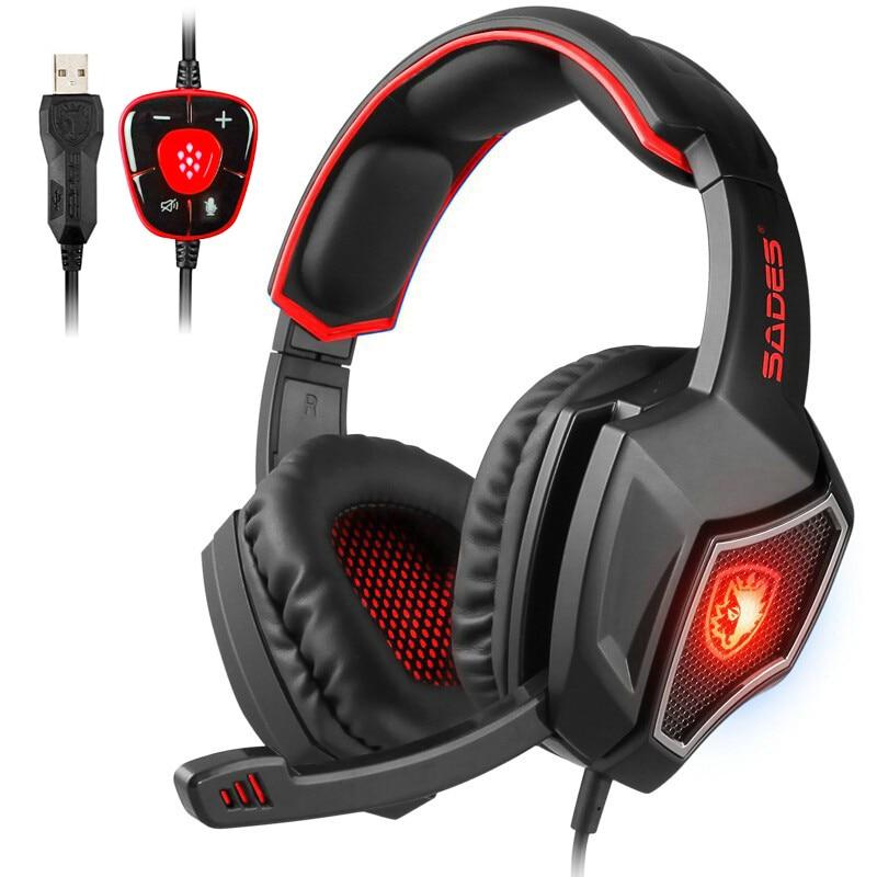 SADES Spirit Wolf USB casque de jeu ordinateur jeu casque 7.1 son avec rétro-éclairage Microphone