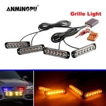 ANMINGPU 4 IN 1 Auto Fso Stroboscopes Polizei Licht Weiß Gelb Rot Blau Grille LED Strobe Licht Notfall Warnung Flasher licht