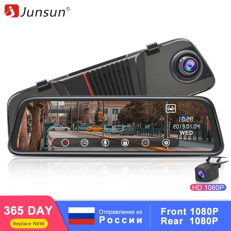 Junsun 2019 New Back Camera 1080P Car DVR Dual Lens Dash Cam 10'' IPS Touch Screen Rear View Mirror Driving Recording Recorder