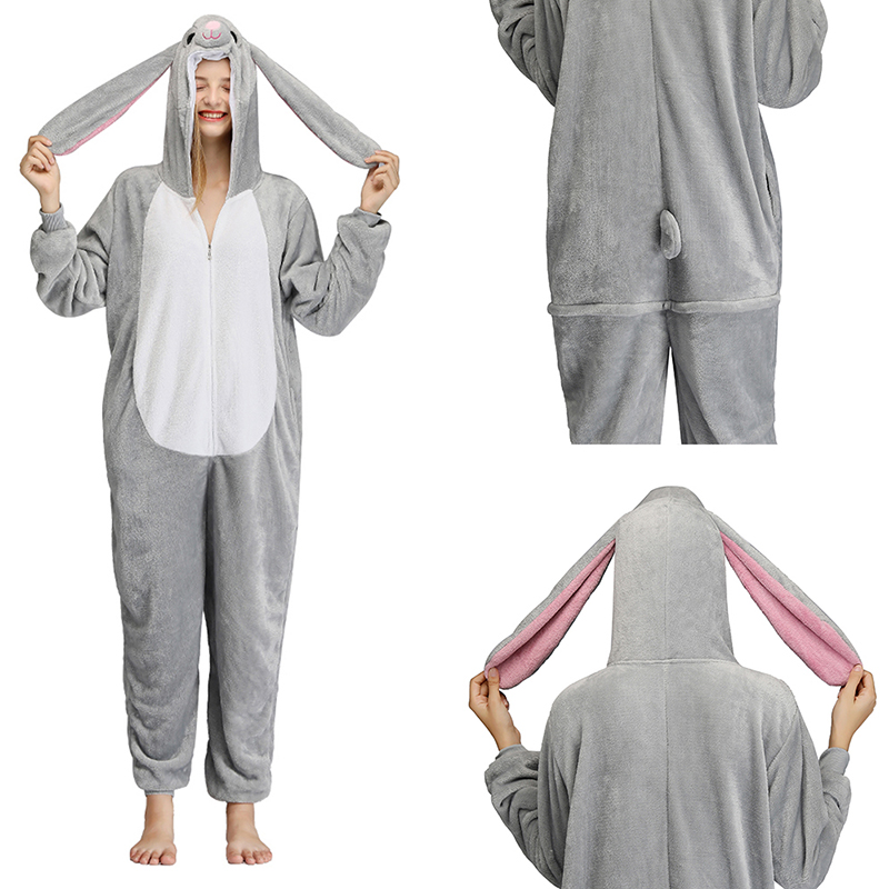 2019 Kigurumi Onesies Gray Rabbit For Women Men Pajamas Adult Cartoon Winter Onesies Unisex Soft Fancy Anime Flannel Onepiece