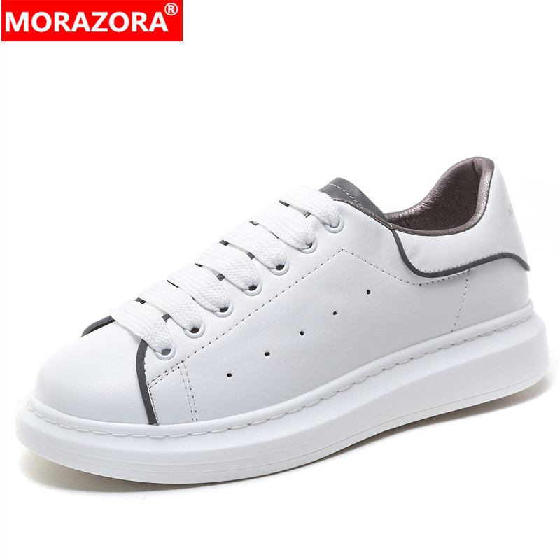 MORAZORA 2020 New Genuine Leather Shoes Woman Platform Sneakers Women Flats Reflective Small White Shoes Couple Casual Shoes
