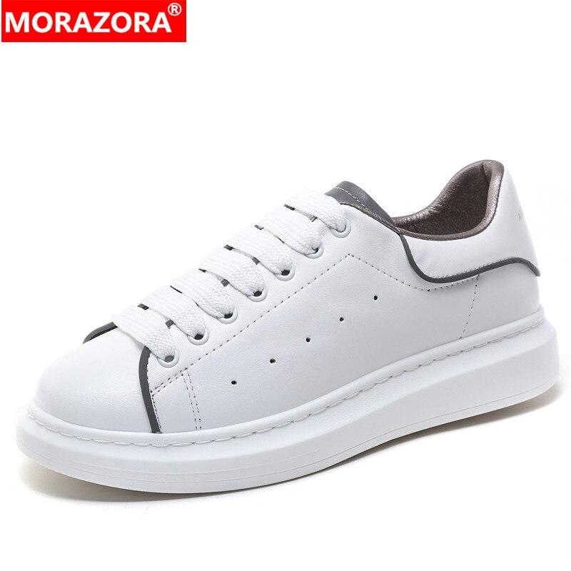 Morazora 2020 novos sapatos de couro genuíno mulher plataforma tênis femininos apartamentos reflexivos pequenos sapatos brancos casal sapatos casuais