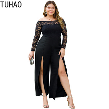 TUHAO 2019 Autumn Sexy Lace Women Jumpsuit Large Size 4XL 3XL Long Sleeve High Waist Split Wide Leg PANT Women's Trousers WM11