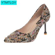Fashion Womens High Heels Office Shoes New  Pointed Toe Women Pumps Super Sexy 8 style Flower Slip-on