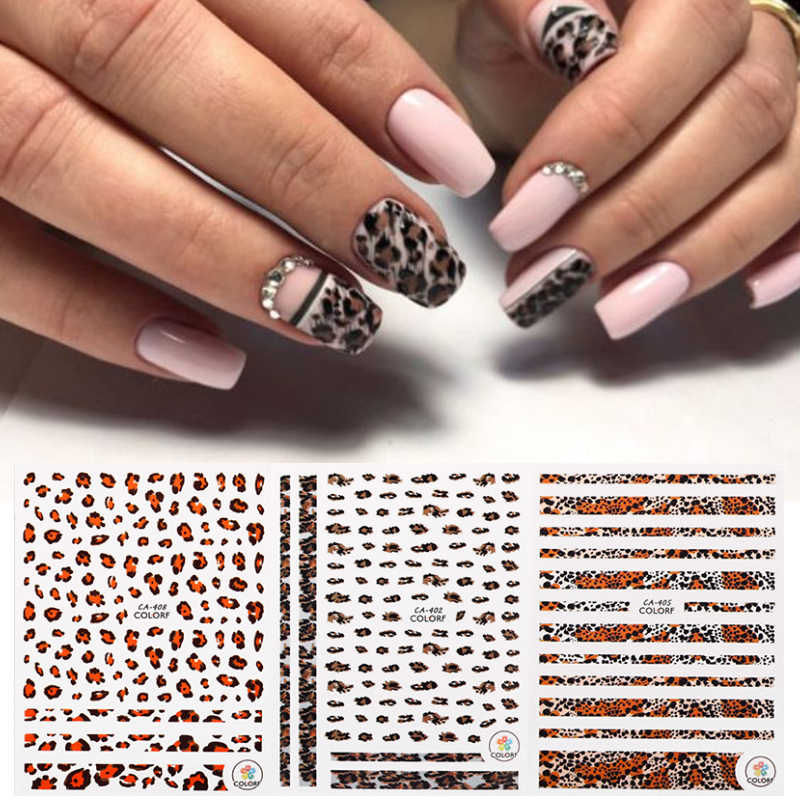 1 Sheet Nail Stickers Leopard Grain Series Mixed Patterns Nail Decals Beautiful Transfer Sticker Nail Art DIY Decoration