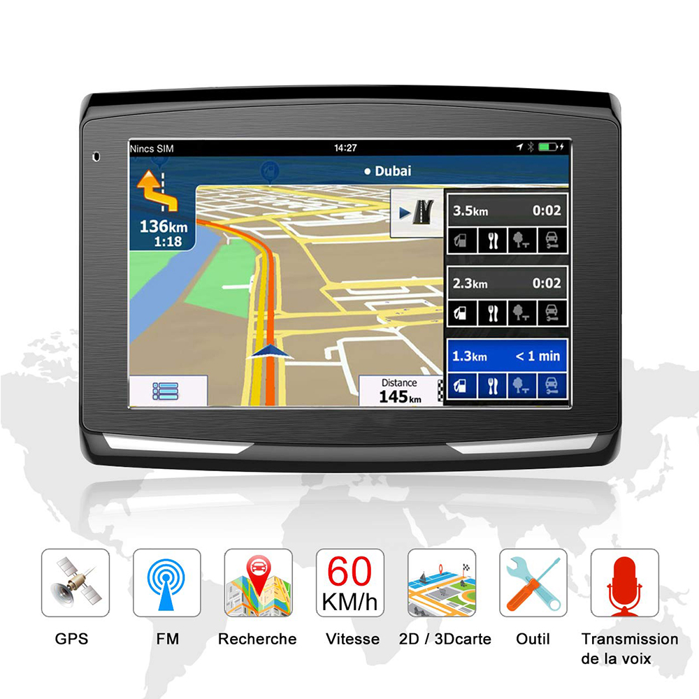 Автомобильный GPS-навигатор, 5 дюймов, 8 ГБ, Bluetooth, Wi-Fi