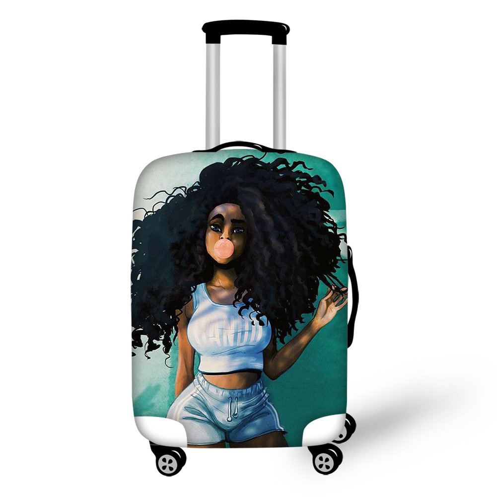 Waterproof Luggage Covers for 18-30 inch Suitcase Cool African Girl Art Travel Suitcase Protective Cover Luggage Accessories