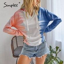 Simplee casual tie-dye looes plus size women hoodies shirt h