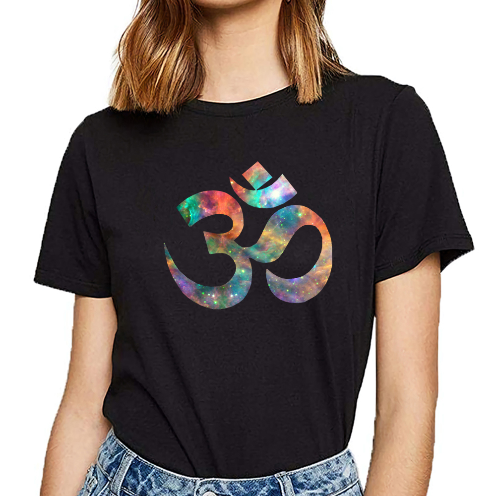 Tops T Shirt Women cosmic <font><b>om</b></font> Basic Black Cotton Female <font><b>Tshirt</b></font> image