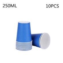 10 шт./партия, однотонные цветные чашки, детские праздничные принадлежности для дня рождения, однотонные синие Бумажные очки, вечерние принадлежности для дня рождения