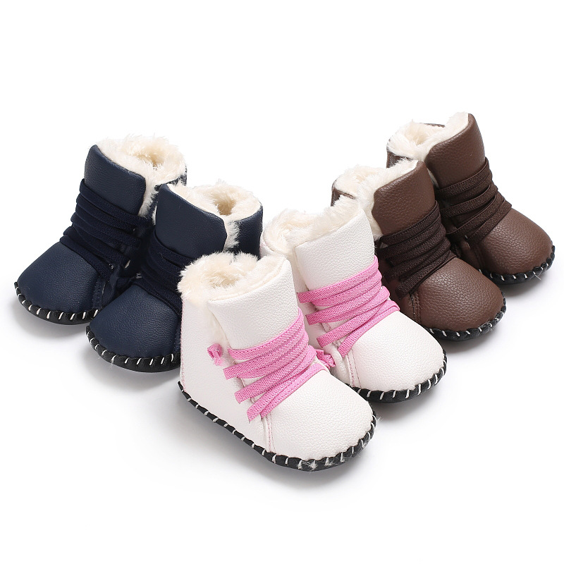Baby Boy Girl Newborn Infant Shoes Leather Boots Hight Heel Fluff Inside Toddler Anti-slip Rubber Sole First Walkers Winter Warm