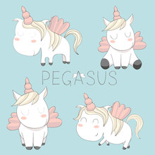 ZhuoAng Pegasus Cartoon Unicorn Clear Stamps For DIY Scrapbooking/Card Making/Album Decorative Silicon Stamp Crafts