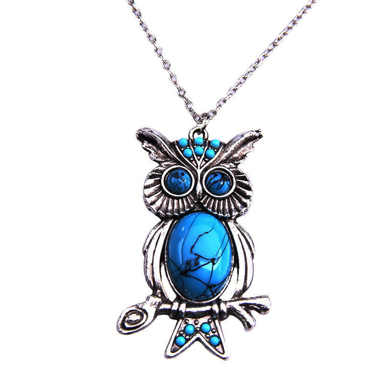 Wholesale Chinese Retro Turquoise Owl Pendant Necklace Fashion Sweater Chain Jewellery Hand-Carved Man Woman Luck Gifts Amulet