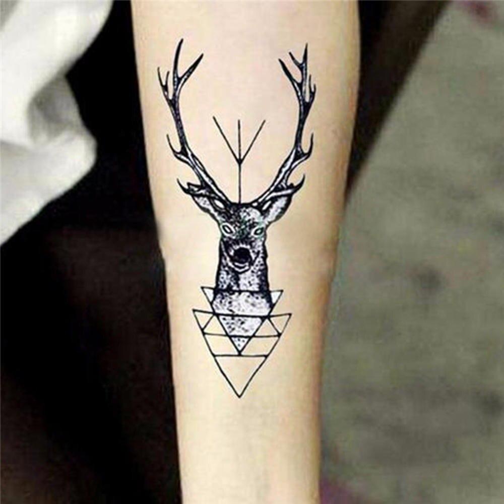 Hot Sale Waterproof Temporary Tattoo Sticker Elk Head Deer Tattoo Bucks Horn Antlers Fake Tattoo For Unisex