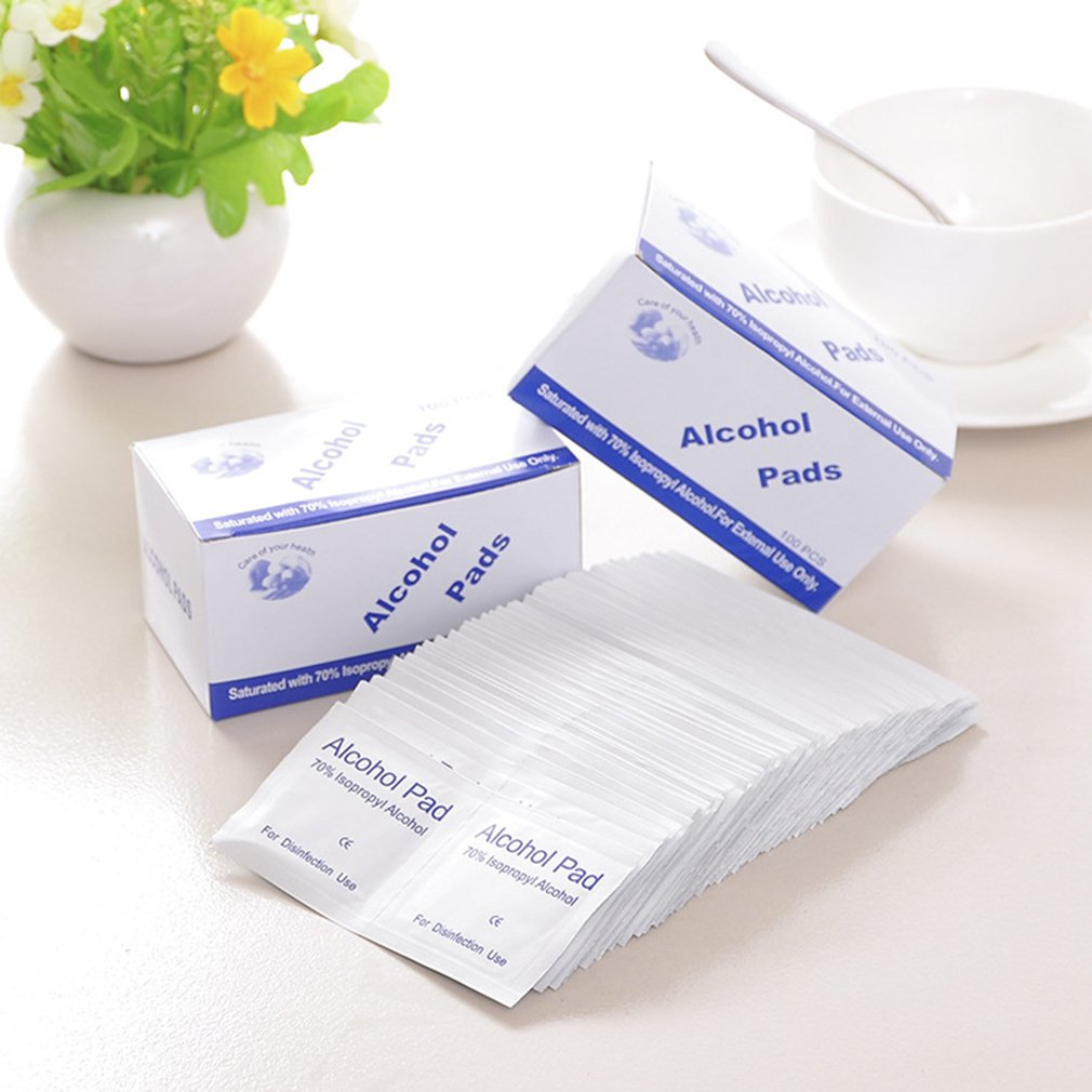 Disposable Alcohol Cotton Sheet / Disinfection Alcohol Wipes Hospital Alcohol Disinfection Piece 100pcs / Bag