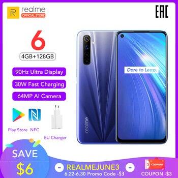 Перейти на Алиэкспресс и купить Realme 6 глобальная версия 4 Гб RAM 128 ГБ ROM мобильный телефон 90 Гц дисплей Helio G90T 30 Вт флэш-зарядка 4300 мАч 64MP камера Сотовый телефон