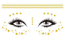 Gold Face Temporary Tattoo Sticker Star Totem Chain Waterproof Freckles Makeup Eye Decal Body Art for Girl Kid 16(China)