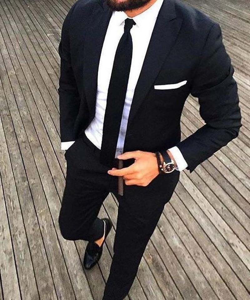 Black Custom Tuxedo Men Suits For Wedding 2Pieces Business Suit Blazer Peak Lapel Costume Homme Terno Party Suits(jacket+pant)